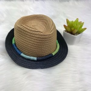 Infant Straw Fedora Hat Multicolor Rope Detail